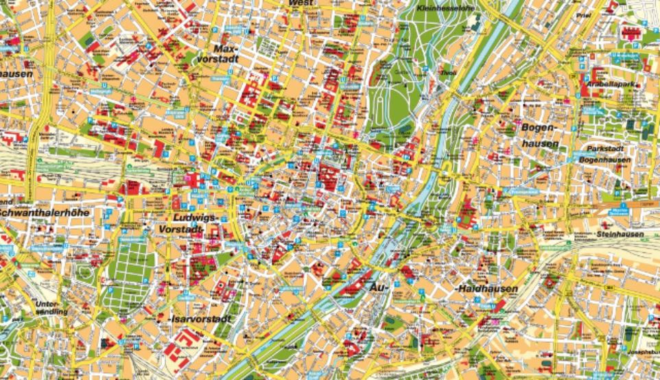 Map Of Munich Map of Munich Germany   A city map of Munich
