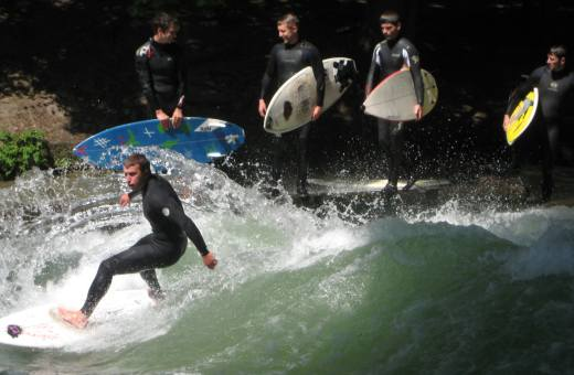 They even surf in a stream here...